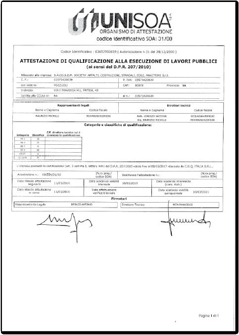 Certificazioni - S.A.CO.S.E.M. Srl